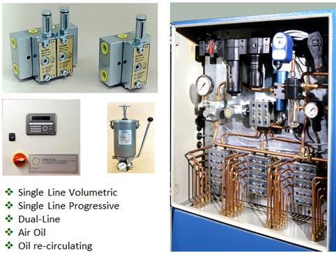 Single Line Volumetric<, Single Line Progressive, Dual-Line, Multi-Outlet, Oil re-circulating